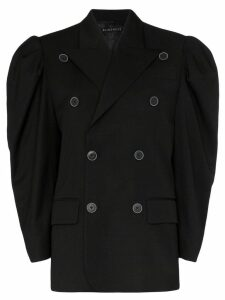 Blindness puff sleeve double-breasted blazer - Black