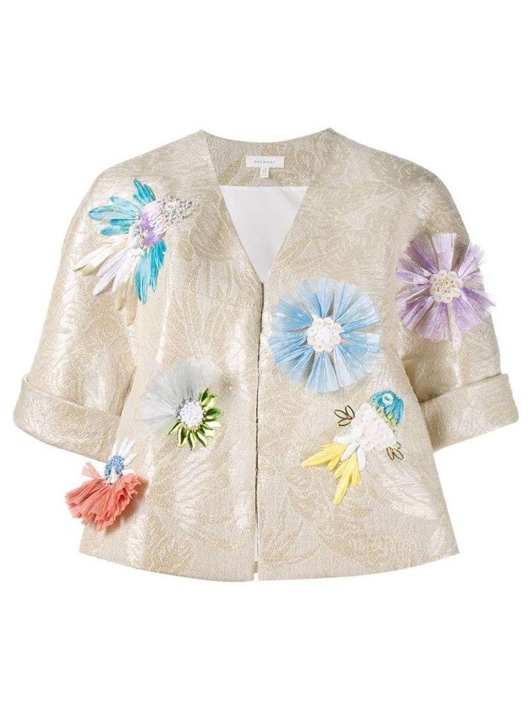 Delpozo appliquéd floral jacquard jacket - Neutrals