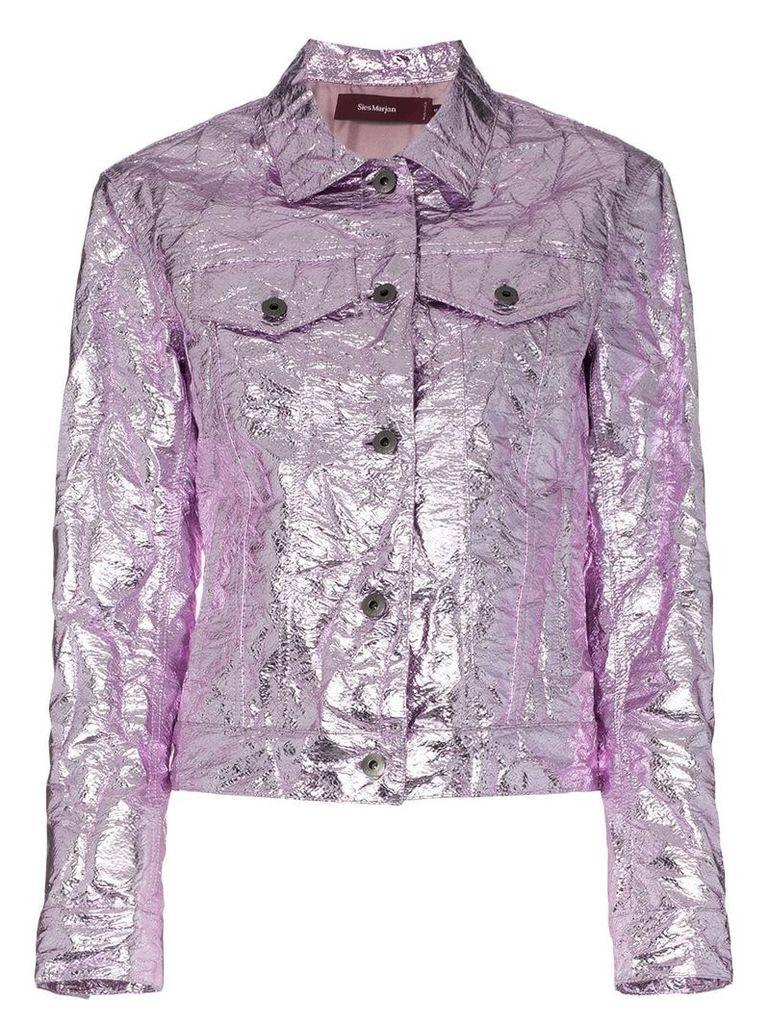 Sies Marjan Alby laminated crinkle jacket - Pink