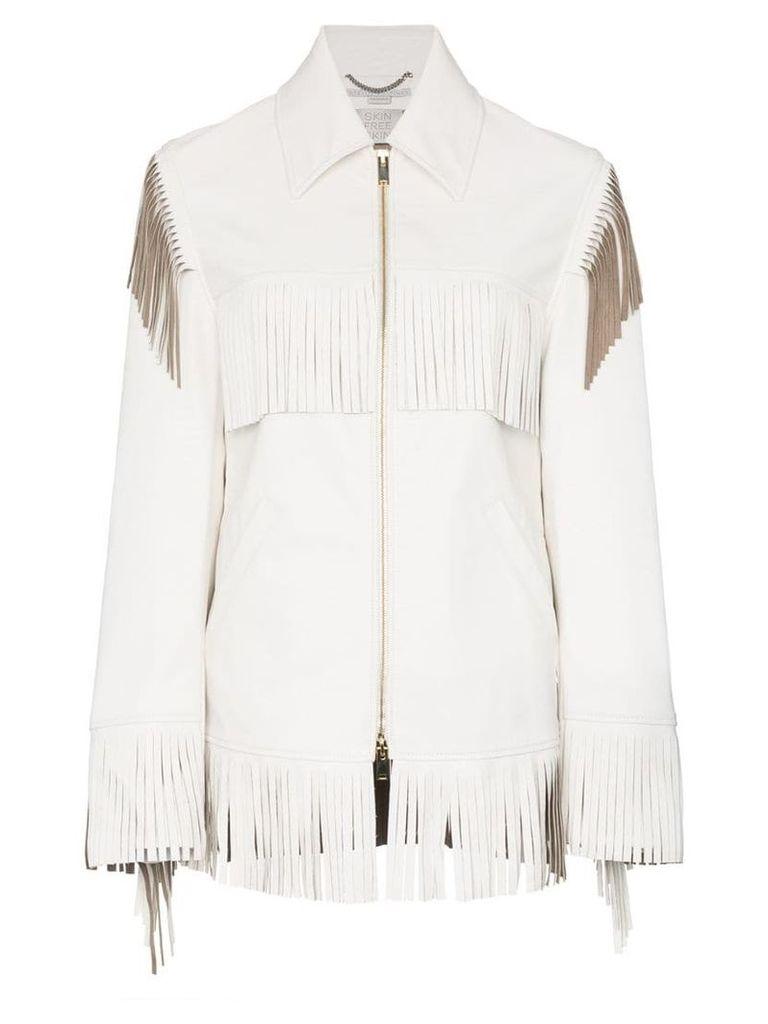 Stella McCartney Faux Leather Fringed Jacket - White