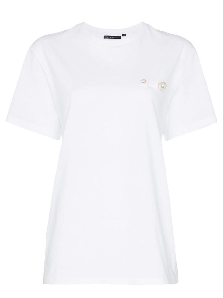 Blindness pearl detail cotton T-shirt - White