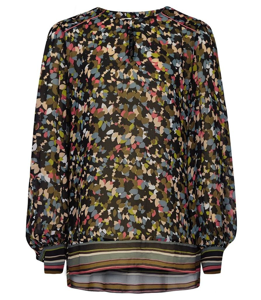Reiss Ally - Disty Floral Printed Top in Multi, Womens, Size 14