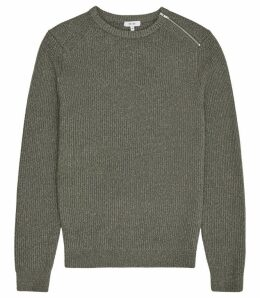 Reiss Morgan - Ribbed Crew Neck Jumper in Sage, Mens, Size XXL