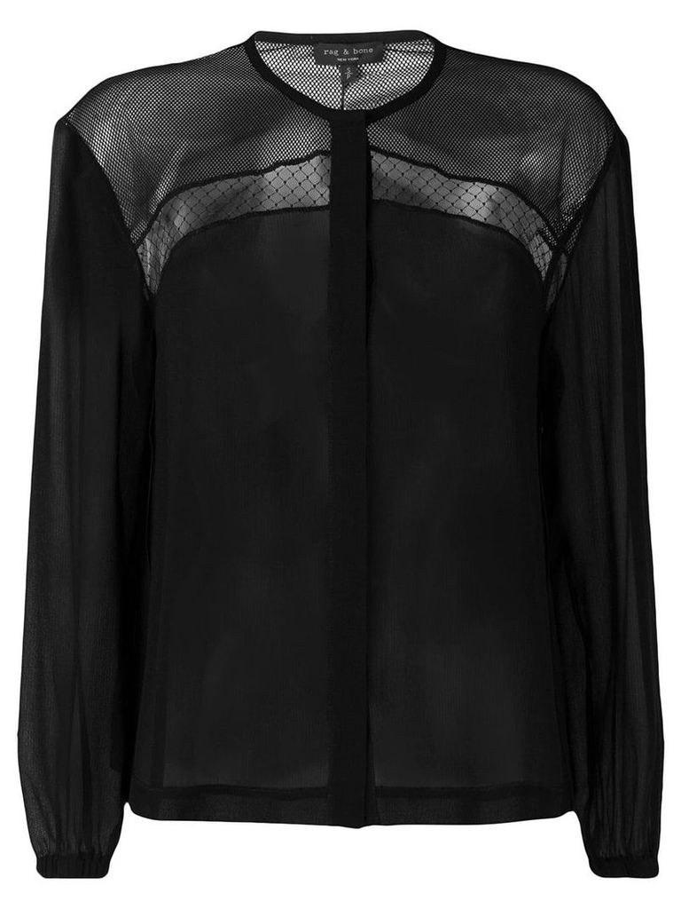 Rag & Bone lace-panelled top - Black