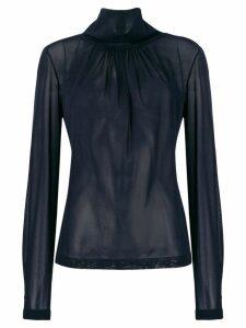 Victoria Beckham high neck chiffon blouse - Blue