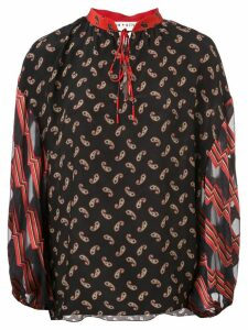 Alice+Olivia Asha multi-print blouse - Black