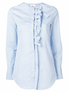 3.1 Phillip Lim ruffle placket collarless shirt - Blue