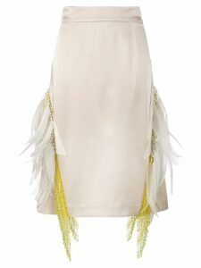 Prada feather embellished beaded skirt - Neutrals