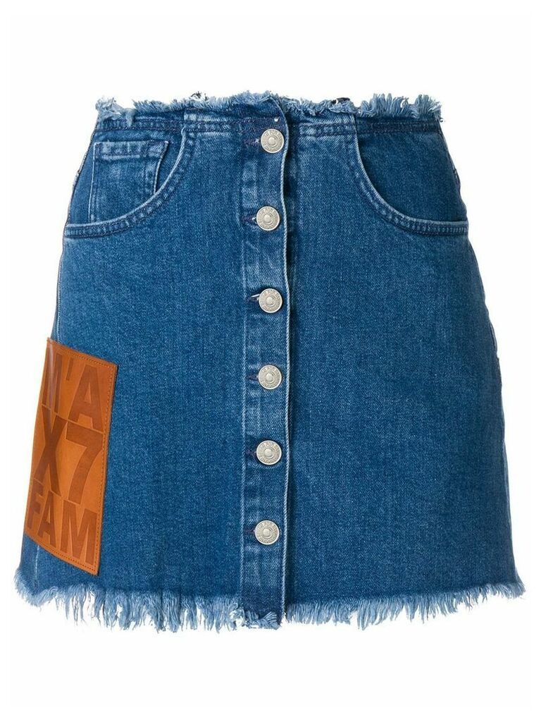 7 For All Mankind frayed hem denim skirt - Blue
