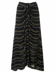 Proenza Schouler Crepe Stripe Tied Skirt - Black