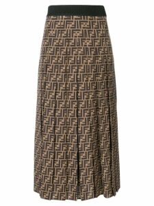 Fendi FF logo flared midi skirt - NEUTRALS