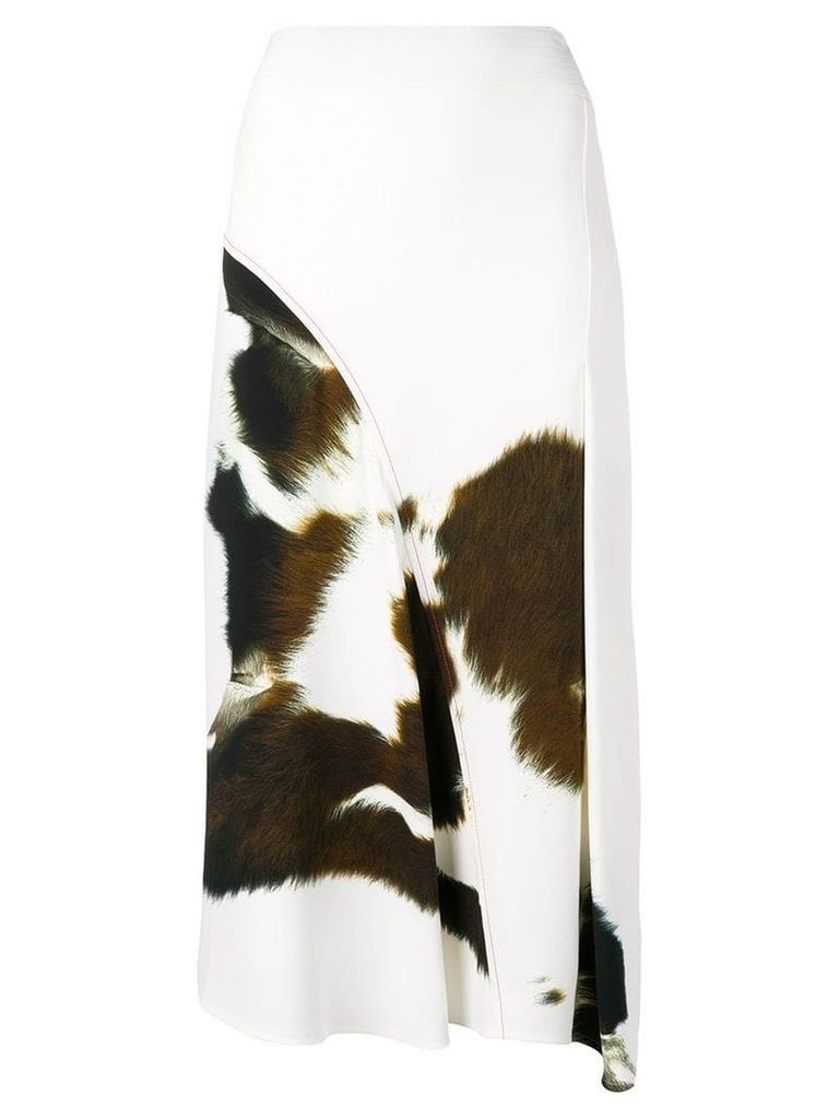 Victoria Beckham cow-print cady skirt - White