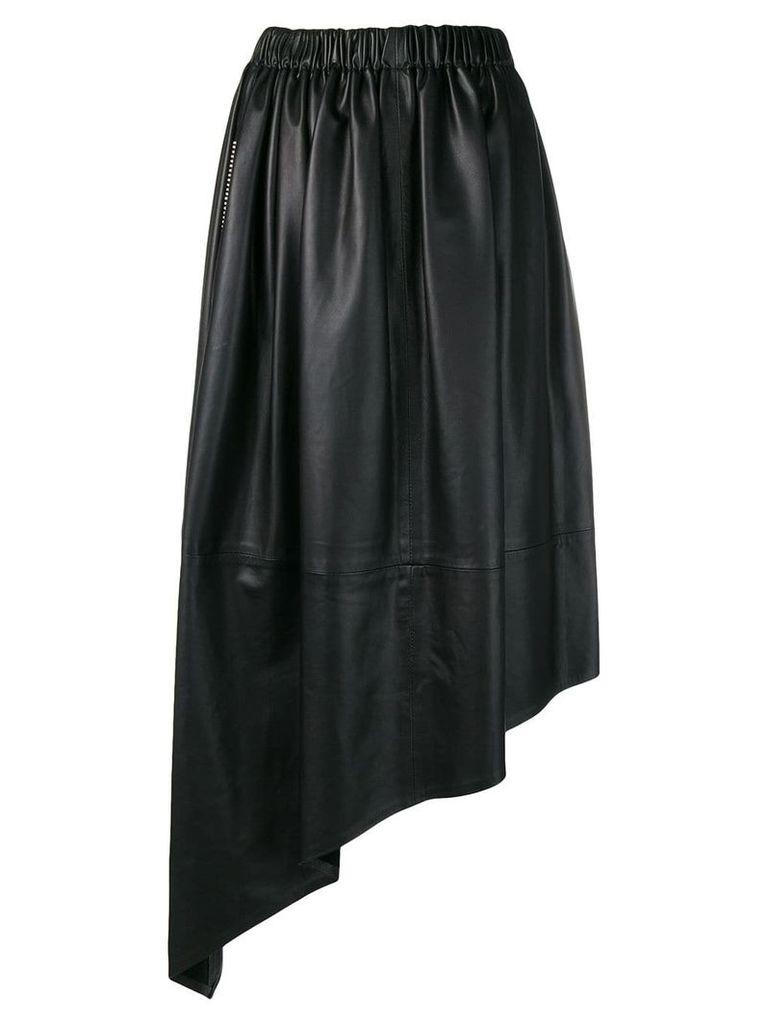 Christopher Kane leather crystal gathered skirt - Black