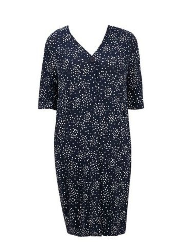 Navy Blue Scatter Print Dress, Navy