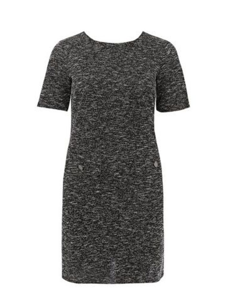 Black Textured Shift Dress, Black