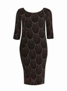 **Scarlett & Jo Black Glitter Bodycon Dress, Black