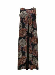 Black Paisley Print Split Front Maxi Dress, Black