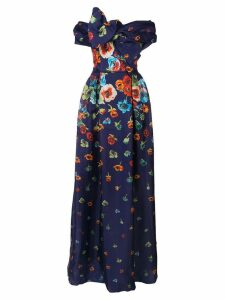 Carolina Herrera floral draped dress - Blue