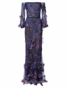 Marchesa Notte off-the-shoulder floral dress - Blue