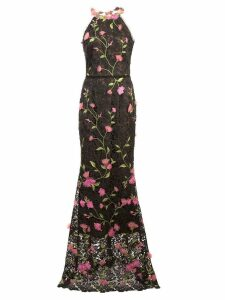 Marchesa Notte lace fitted long dress - Black