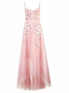 Marchesa Notte empire line embroidered dress - Pink