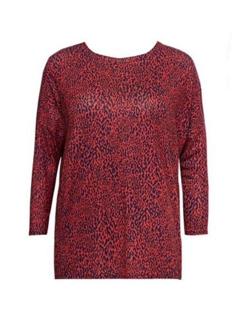 Red Animal Print Top, Red