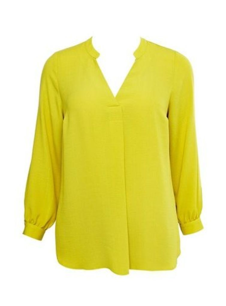 Lime Linen Look Shirt, Lime