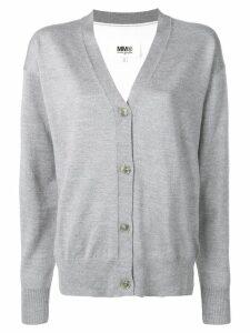 Mm6 Maison Margiela two-tone knitted cardigan - Grey