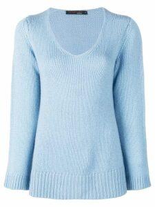 Incentive! Cashmere scoop neck knitted jumper - Blue