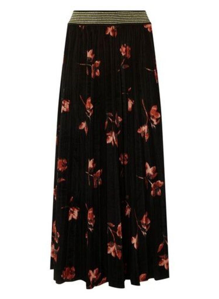 Womens **Only Black Velour Skirt, Black