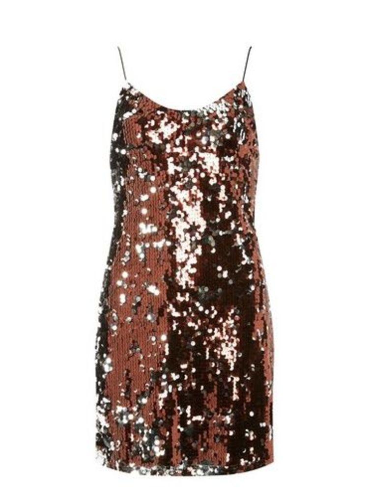 Womens **Brown Sequin Slip Dress- Brown, Brown