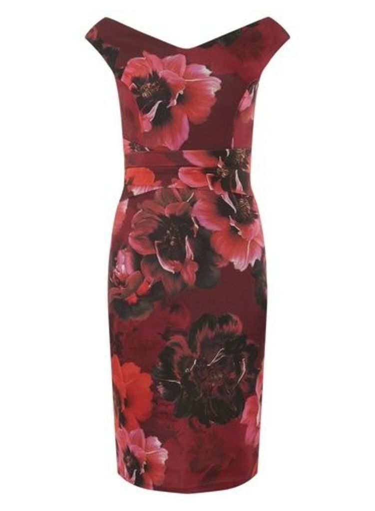 Womens **Scarlett B Red Floral Print 'Sophie' Bardot Bodycon Dress- Multi Colour, Multi Colour
