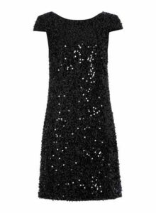 Womens *Roman Originals Black Sequin Shift Dress- Black, Black