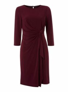 Womens *Roman Originals Burgundy Twist Front Shift Dress- Red, Red