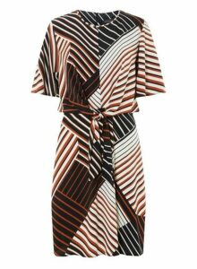 Womens **Tall Multi Coloured Stripe Print Knot Front Shift Dress- Black, Black