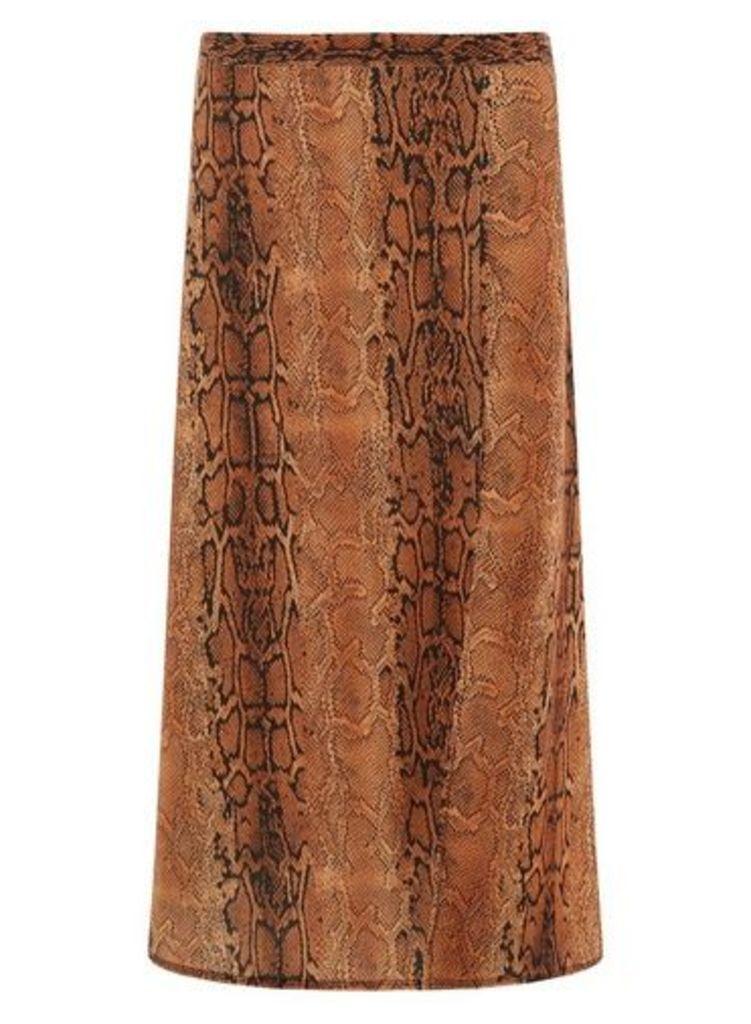 Womens **Tall Rust Snake Print Split Midi Skirt- Red, Red
