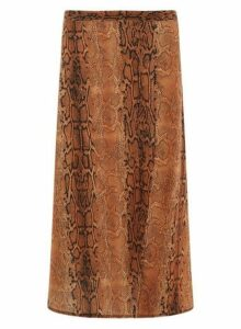Womens **Tall Rust Snake Print Split Midi Skirt- Red, Red
