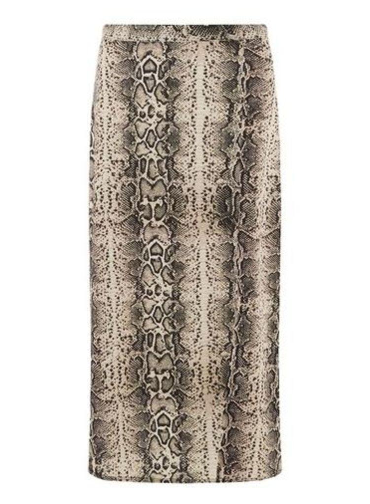 Womens **Tall Nude Snake Print Split Midi Skirt- Multi, Multi