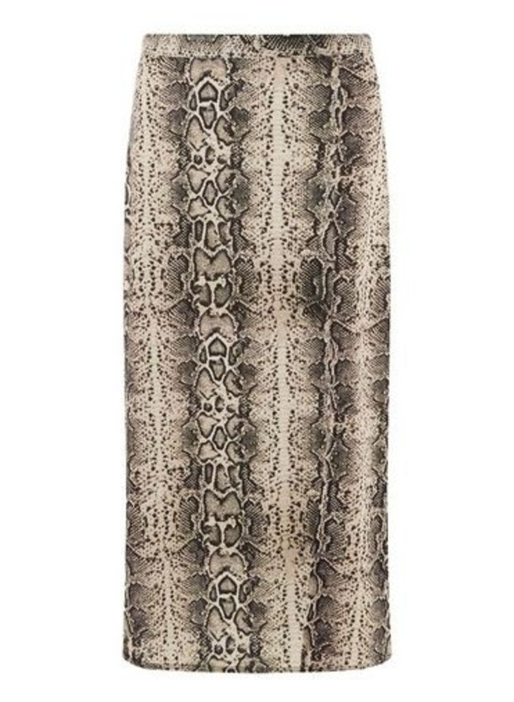 Womens **Tall Nude Snake Print Split Midi Skirt- White, White