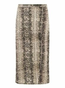 Womens **Tall Nude Snake Print Split Midi Skirt- Multi, Multi