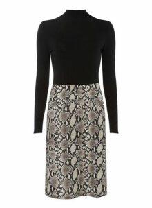 Womens **Tall Black Snake Print 2-In-1 Dress- Black, Black