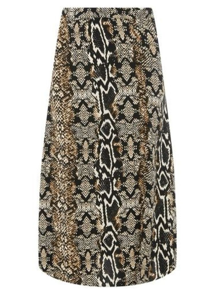 Womens Multi Colour Snake Print Woven Midi Skater Skirt- Brown, Brown