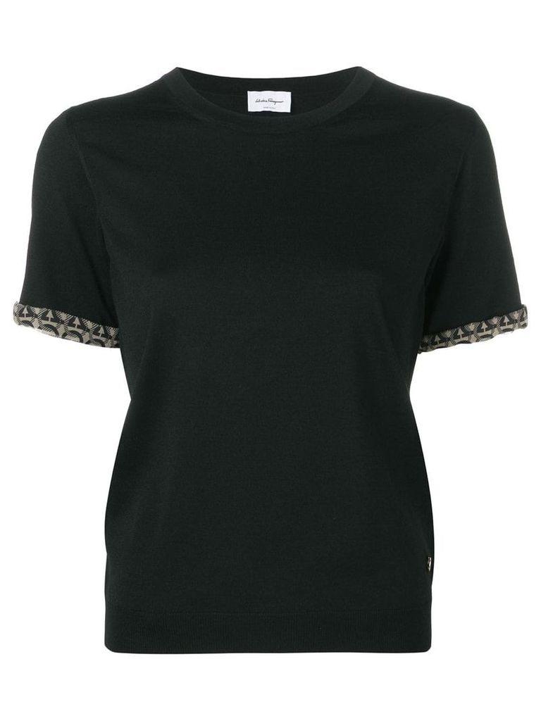 Salvatore Ferragamo contrast-hem T-shirt - Black