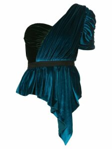 Self-Portrait draped off-the-shoulder top - Blue