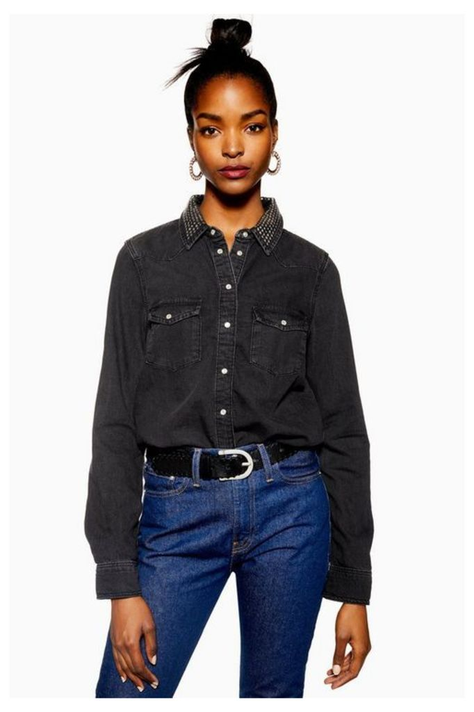 Womens Studded Collar Denim Shirt - Washed Black, Washed Black