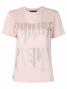 Philipp Plein rhinestone logo T-shirt - Pink