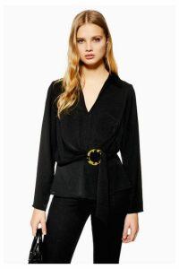 Womens Horn Buckle Collar Blouse - Black, Black