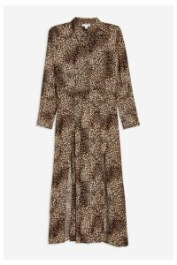 Womens Tall Animal Midi Shirt Dress - Brown, Brown