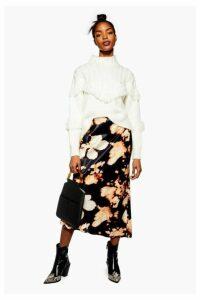 Womens Tie Dye Satin Bias Midi Skirt - Multi, Multi