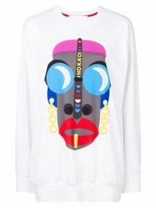 No Ka' Oi logo mask print sweatshirt - White